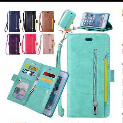 AU11.33 • Buy Zipper Flip Holder Card Wallet Stand Leather With Rope Case Cover For Cell Phone