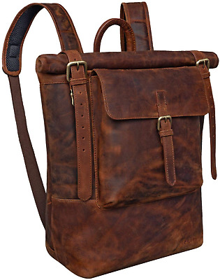 STILORD 'Chris' Leather Backpack Roll Top Men Women For Laptop A4 Size Large XL • 196.19£
