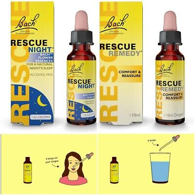 Oral Drops Bach Rescue Remedy Day & Night - Calm Anxiety Stress Deep Sleep Relax • 6.39£