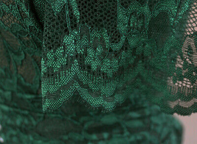 'A Day At The Races' Soft Corded Stretch Lace Dress Fabric Material (Emerald) • 5.99£