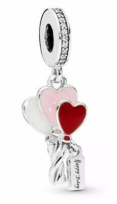 💎🎀 Sterling Silver 925 Happy Birthday Bday Charm & Gift Pouch Heart Balloons • 14.99£
