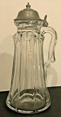 $19.95 • Buy Antique Molded Glass Syrup 9  Pitcher With Pewter Lid