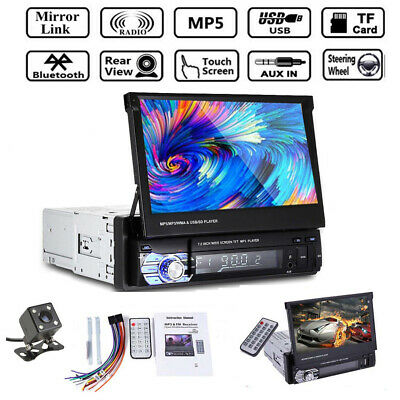 AU115.99 • Buy 7'' 1 Din Car Radio SD FM Flip Out Touch Screen Head Unit Stereo Audio +Camera