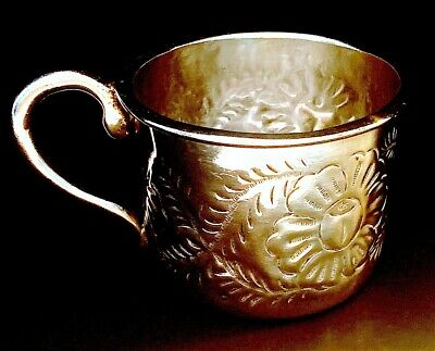 $335 • Buy Antique Maciel  Repousse Sterling Silver Baby Cup Heavy Handmade 4.3oz.