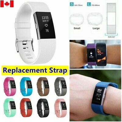 $ CDN9.99 • Buy For Fitbit Charge 2 Strap Wrist Band Spare Metal Buckle Wristband Soft Silicone
