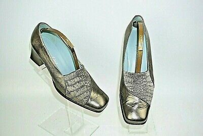 Van Dal Pewter Leather & Taupe Textile Slip On Shoes Uk Size 4.5 D. Eu37.5 • 14.99£