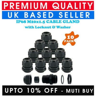 £5.70 • Buy 10x M20 Cable Gland 20mm Waterproof Ip68 Compression Stuffing Locknut Washer Led