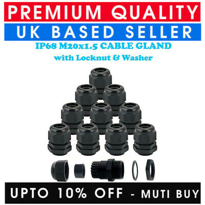 £1.95 • Buy 20mm Cable Gland M20 Waterproof Ip68 Compression Stuffing Locknut Washer Cctv Uk