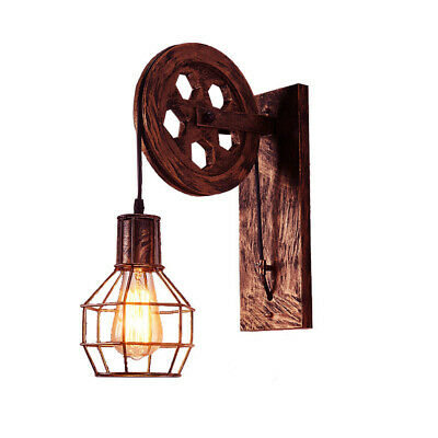 Industrial Retro Wall Light Lifting Pulley Wall Lamp Sconce Light Fixture E27 • 19.89£