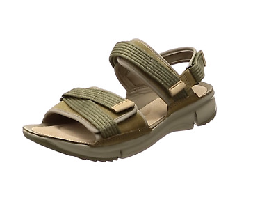 Clarks Ladies Tri Walk Khaki  Combi Sandals Size Uk 9 D • 49.99£