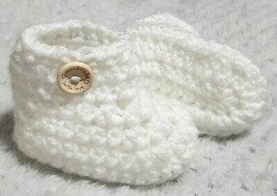 Handmade With Love Crochet Baby Boy/Girl Button Booties, White. 0-3 Months • 2.50£