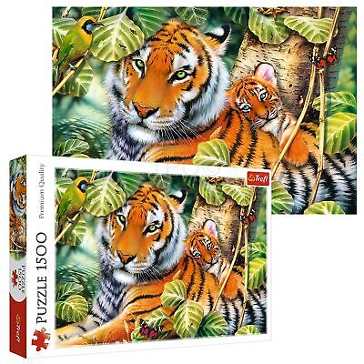 £10.49 • Buy Trefl 1500 Piece Adult Large Two Ferocious Tigers Family Forest Jigsaw Puzzle