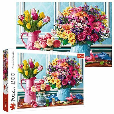 £10.49 • Buy Trefl 1500 Piece Adult Large Fresh Flowers In Vases Roses Tulips Jigsaw Puzzle