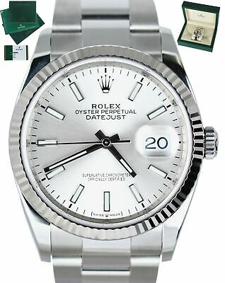 $ CDN9902.88 • Buy NOV 2019 Rolex DateJust 36 126234 Silver Oyster White Gold Stainless 36mm Watch