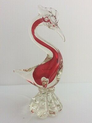 Vintage Murano Glass Large Heron Red Glass Bird. Very Good Condition. • 15.60£