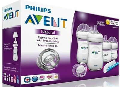AU58.58 • Buy Philips Avent Natural Newborn Starter Set 4 Bottles 1 Nipple Brush 1 Pacifier