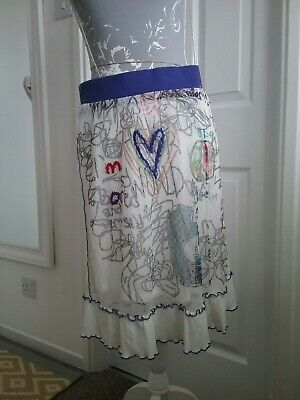 Frime Quirky  White Grafity Goth Net Skirt Size 12/14 • 12£