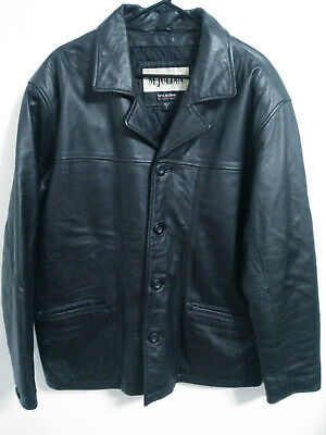 $69.30 • Buy M Julian Wilsons Mens Size Large Black Leather Lined Button Up Jacket