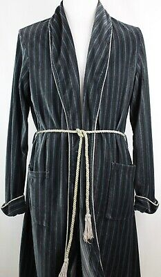 $59.95 • Buy VTG Dunn & Co Blue Gray Striped Shawl Collar Dressing Gown Belted House Robe XL