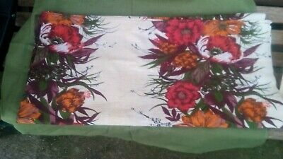 Hand Made Vintage French Cotton Floral Tablecloth Throw Shabby Chic Kitchen • 7£
