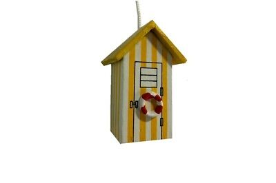£4.75 • Buy Charming Yellow & White Wooden Beach Hut Light Pull With Cord - Nautical