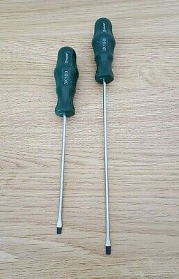 £3.89 • Buy 2Pc Quality Thin Screwdriver Set 7  & 9  Flat Head Long Magnetic Tip Grip Handle