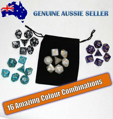 AU8.99 • Buy Polyhedral Dungeons And Dragons Dice Set DnD Dice Pearl Dice + Bag For RPG Games