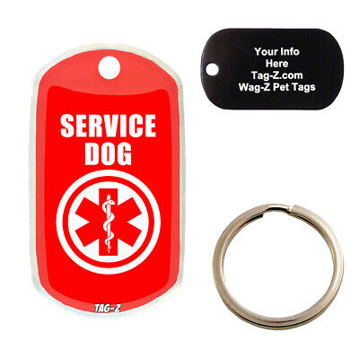 $10 • Buy MEDICAL ALERT - SERVICE DOG - CUSTOMIZED - PET TAG - MILITARY Shape - Tag-Z Tags