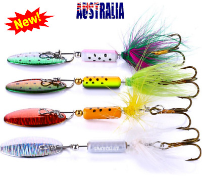 AU8.50 • Buy 4 X Fishing Freshwater Spinner Lures, Trout Lure, Redfin, Perch, Bass, Tackle