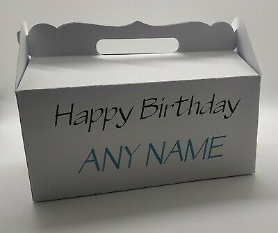 Personalised Any Name -  Happy Birthday  Blue - Elegant Gable Gift Boxes • 2.75£