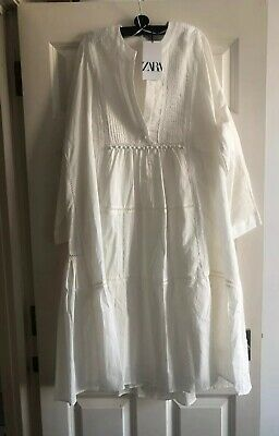 $46.13 • Buy Zara Embroidered Voluminous Dress Loose Fitting Oyster White 6895/045 XS To XXL