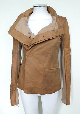 Rick Owens Tan Brown Distressed Leather Jacket UK It 40 Best Fit A Uk 6 To 4  • 287£