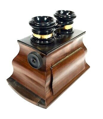 Antique Wooden Stereo Viewer / Stereoscope / Bombe Style Mahogany / 19th Century • 299£