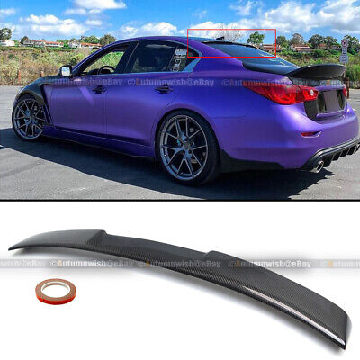 $129.99 • Buy For 14-20 Q50 Glossy Carbon Fiber JDM VIP Style Rear Window Roof Spoiler Wing