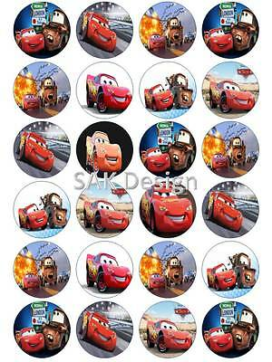 24 X Lightning Mcqueen Cup Cake Toppers On Edible Wafer Paper Or Icing Sheet  • 1.85£