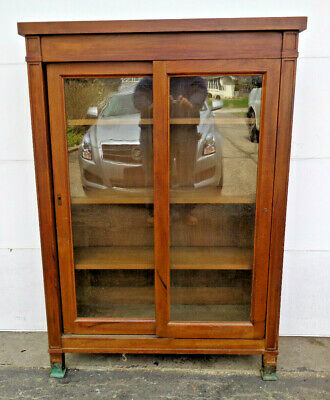 $1250 • Buy Fine Arts & Crafts Walnut 2 Door Sliding Door Bookcase W Bronze? Feet, Elegant