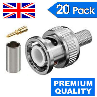 £4.90 • Buy 20x Bnc 3 In 1 Crimp Male Rg59 Connector Adapter Plug Coaxial Coax Cable Cctv Uk
