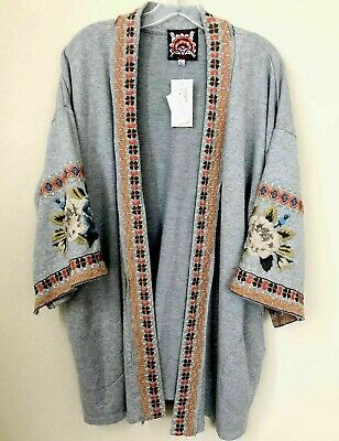$119.99 • Buy $225 Johnny Was Size L Hira Embroidered French Terry Kimono Cardigan Jacket