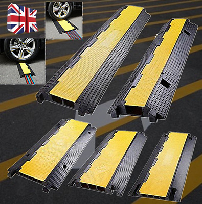 2/3/4/5 Channel Cable Protector Ramp Speed Bump Guard Cover Rubber UK • 33.91£