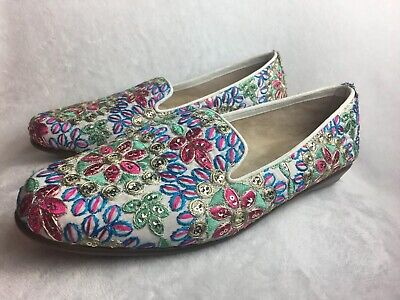 $33 • Buy New Aerosoles Women Size 10.5 W Loafer Betunia Flats Floral Embroidered Sequins