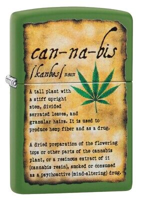 $24.18 • Buy Zippo Cannabis Design Green Matte Windproof Pocket Lighter, 49119