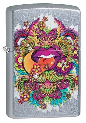 $19.93 • Buy Zippo Psychedelic Lip Design Street Chrome Windproof Pocket Lighter, 49110