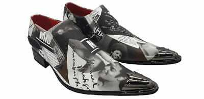 Mens Slip On King Of PoP Michael Jackson Pic Print Memory Shoes With Metal Top • 49.99£