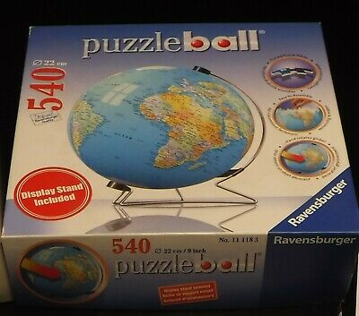 $10 • Buy Ravensburger 3D Puzzleball Globe World Round 540 Pc Puzzle 100% Complete Stand