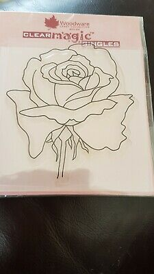 Woodware Clear Magic Singles Stamps JGS151 Rose New • 2£