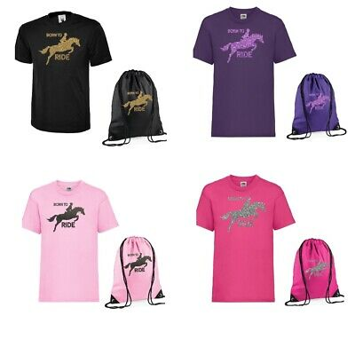 £15.11 • Buy Girls Personalised T Shirt & Bag Set Show Jumping Horse & Own Name Age 3-13 NEW