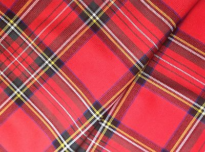 GENUINE TARTAN POLY VISCOSE FABRIC 11oz MED WEIGHT-LARGE SELECTION-PER METRE • 19£