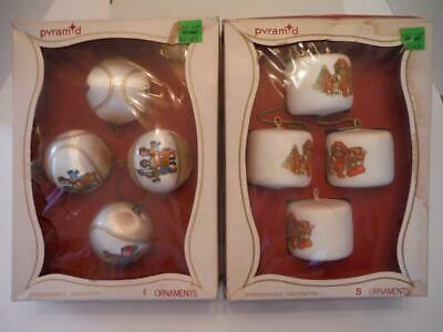 $ CDN24.20 • Buy Vintage Satin-Sheen Christmas Decorations By Pyramid, 2 Boxes Of Ornaments!