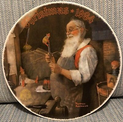 $ CDN17.27 • Buy Norman Rockwell Christmas 1984  Special Edition Plates Santa In His Workshop