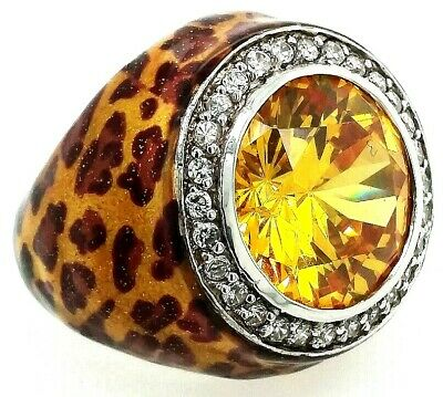 $54.99 • Buy Charles Winston Sterling Silver 925 Citrine Halo Ring Leopard Print BLING Size 7